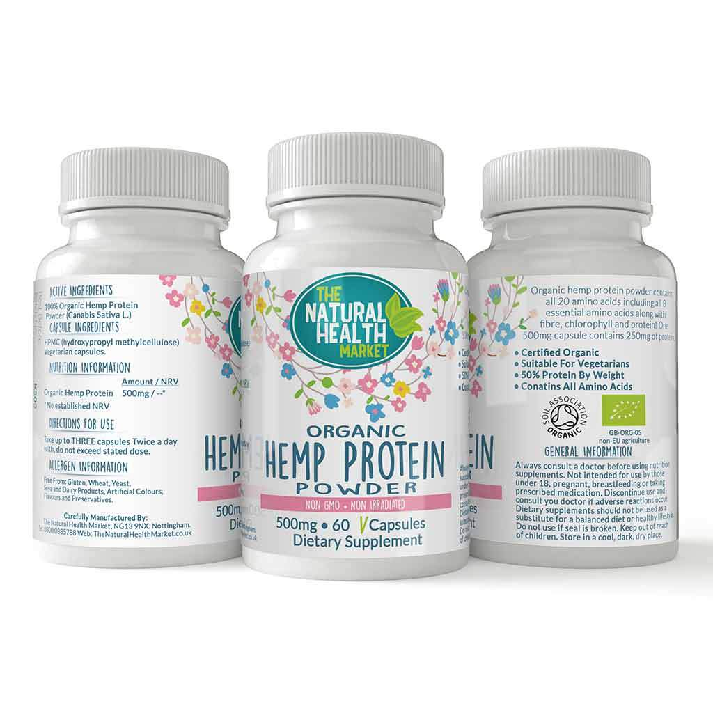 Organic Hemp Protein 500mg Capsules 60 Capsules By The Natural Health Market