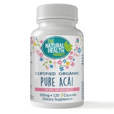 Organic Pure Acai Berry Capsules 500mg 120 Capsules By The Natural Health Market