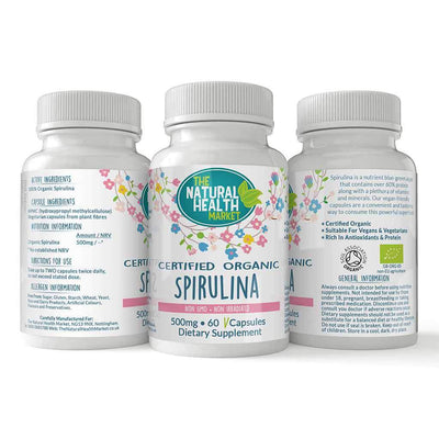 Organic spirulina 500mg 60 capsules By The Natural Health Market