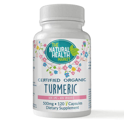 Organic Turmeric Capsules 500mg (120 Capsules) By The Natural Health Market