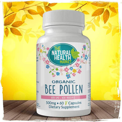Organic Bee Pollen 60 Capsules 500mg By The Natural Health Market