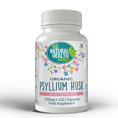 Organic Psyllium Husk Capsules 650mg (120 capsules) by The Natural Health Market