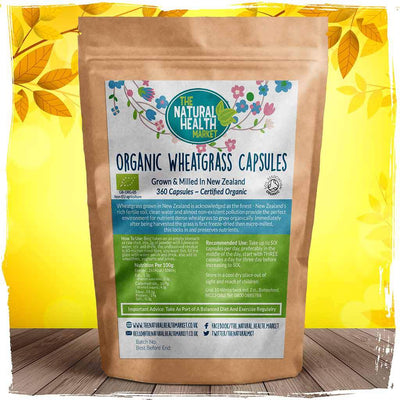 Organic New Zealand wheatgrass powder 360 capsules by The Natural Health market