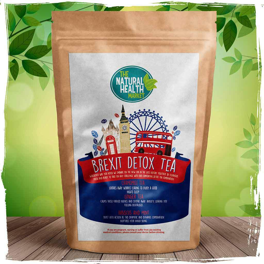 Brexit detox tea by The Natural Health Market, with organic chamomile, organic ginger and hibiscus and mint.