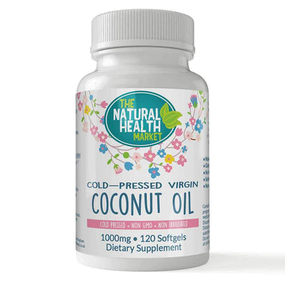 Cold-Pressed Virgin Coconut Oil Capsules 120 by The Natural Health Market