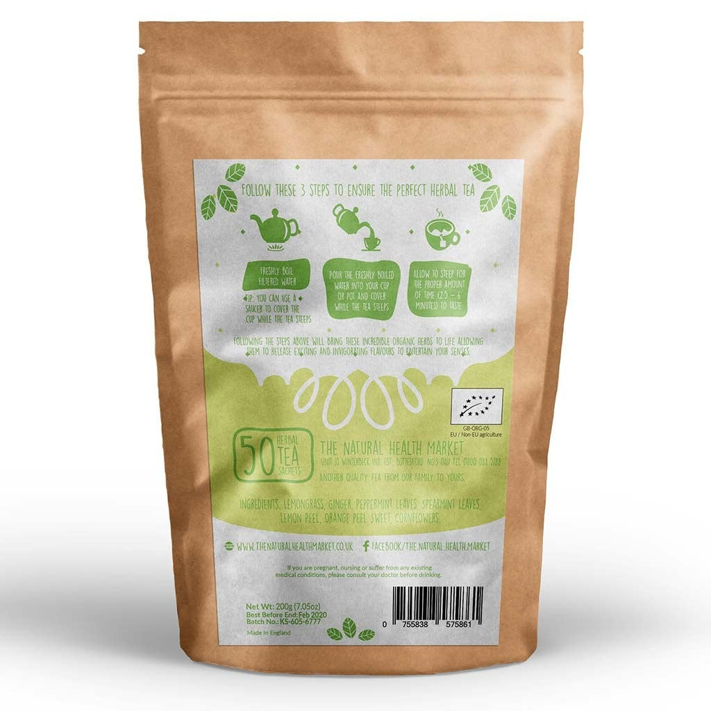 Organic ginger and lemongrass tea 50 Bags by The Natural Health Market