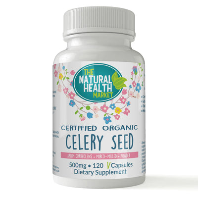 Organic Celery Seed 120 Capsules 500mg By The Natural Health Market