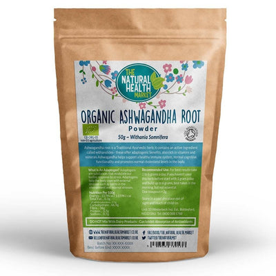 Organic Ashwagandha Root Powder 50g By The Natural Health Market