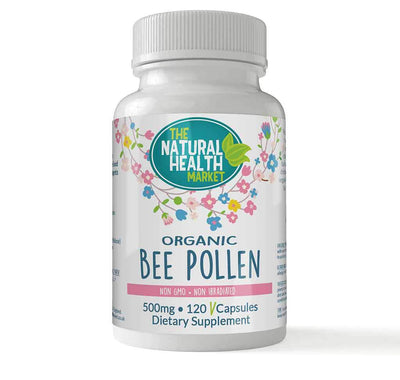 Organic Bee Pollen 120 Capsules 500mg By The Natural Health Market
