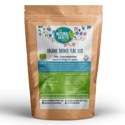 Organic bronze flaxseed 200g by The Natural Health Market