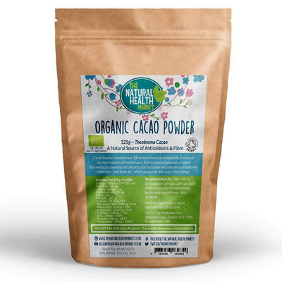 Organic RAW Cacao Powder 125g (Theobroma Cacao) By The Natural Health Market