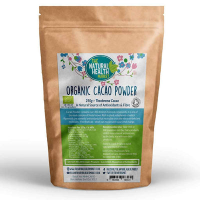 Organic RAW Cacao Powder 250g (Theobroma Cacao) By The Natural Health Market
