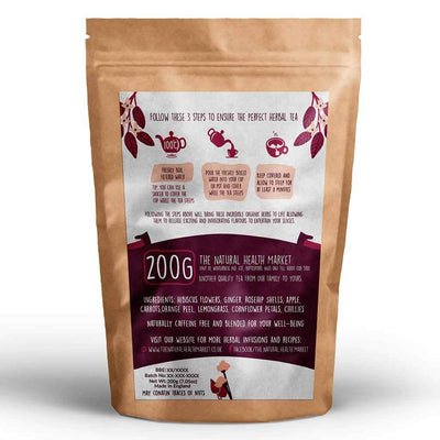 Racy Hibiscus Tea Loose Leaf Tea 200g By The Natural Health Market