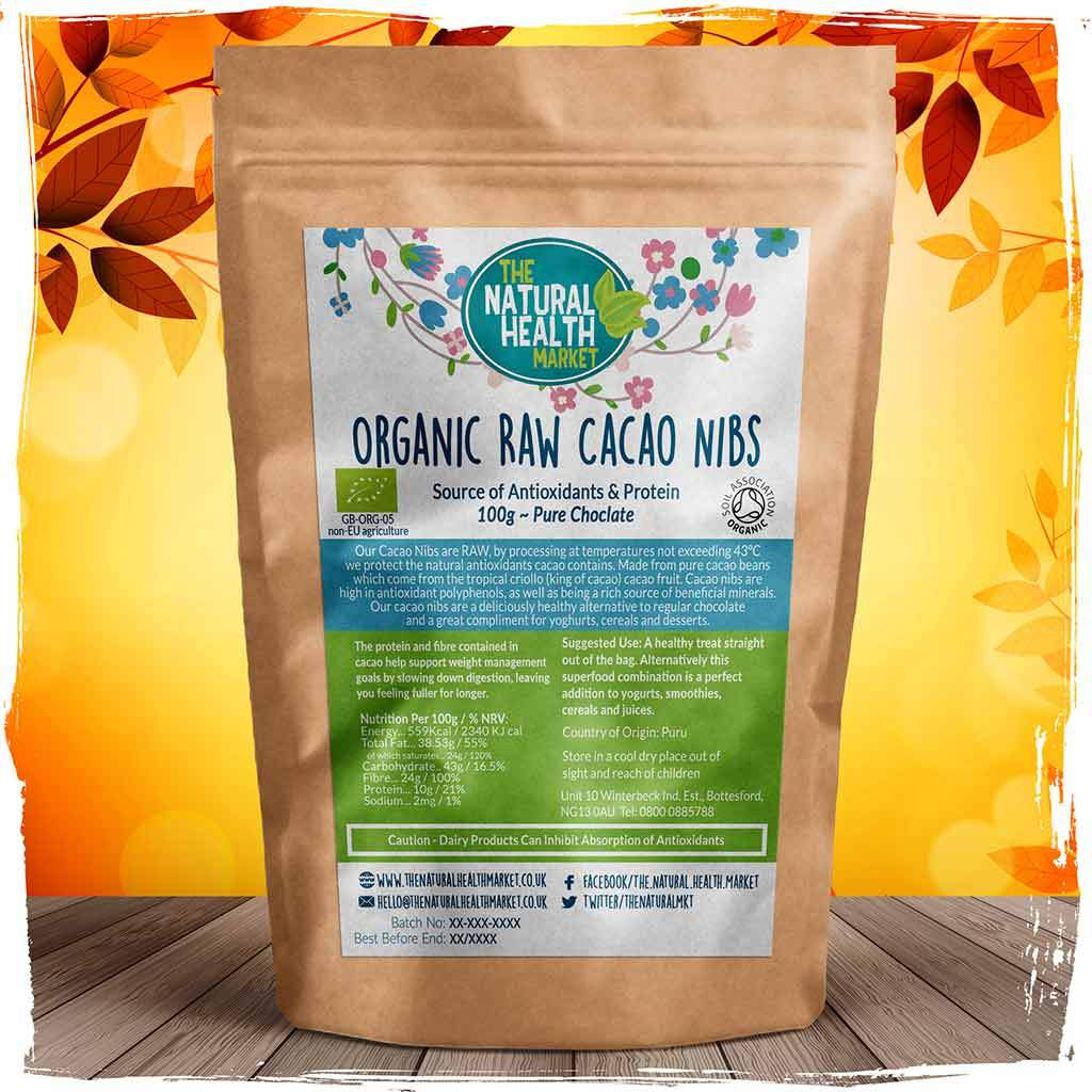 Organic RAW Cacao Nibs 100g By The Natural Health Market