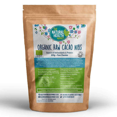 Organic RAW Cacao Nibs 800g By The Natural Health Market