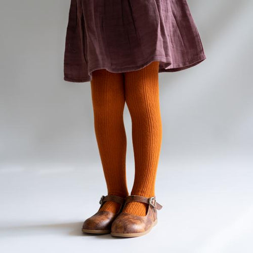 Little Stocking Pumpkin Spice Cable Knit Tights