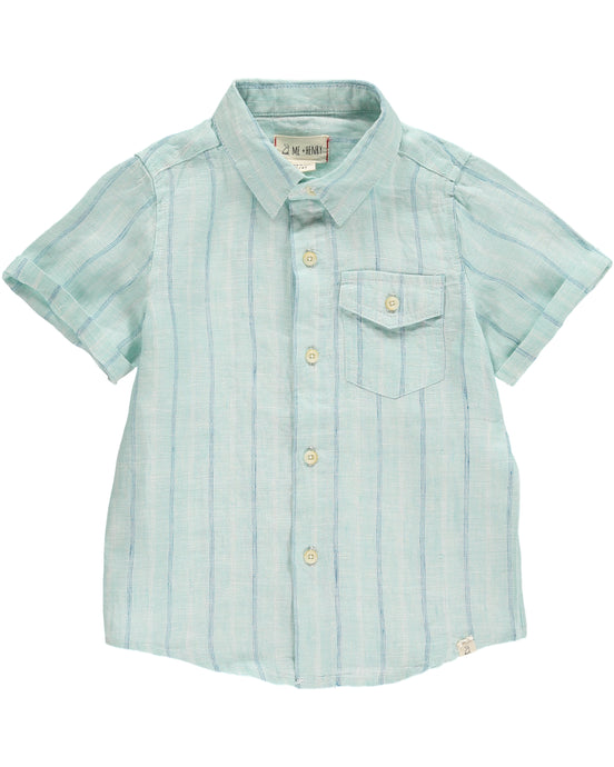 Me & Henry Green / Blue Striped Woven Shirt