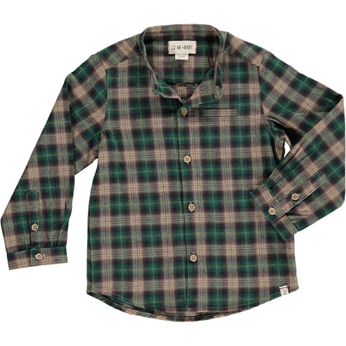 Me & Henry Green Plaid Round Neck Button-Up