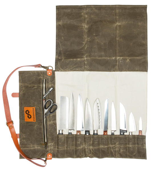 Knife Roll Bag for Chefs - Made of Waxed Canvas