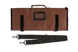 Brown Chef Knife Roll Bag (15 Slots) | Includes 2 Knife Guards