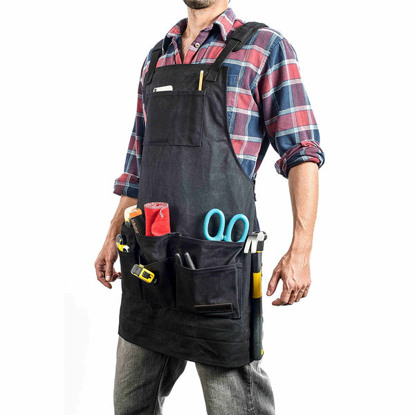 Black Waxed Canvas Work & Tool Apron (11 Pockets)