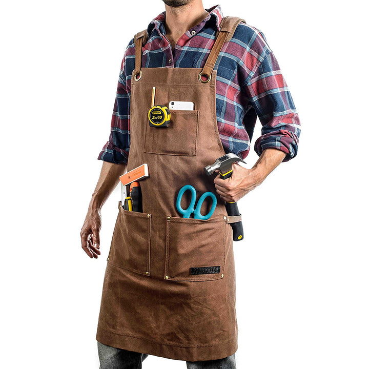 Brown Waxed Canvas Work & Tool Apron (Heavy-Duty)