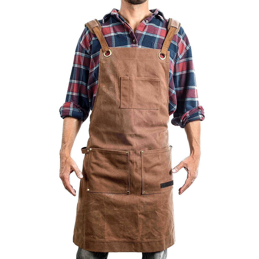 Brown Waxed Canvas Work Amp Tool Apron Heavy Duty Everpride