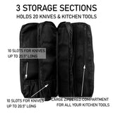 Knife Bag for Chefs - 20 Slots for Knives PLUS 3 Zipper Compartments for Kitchen Tools