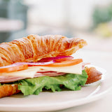 Ham and swiss croissant sandwich