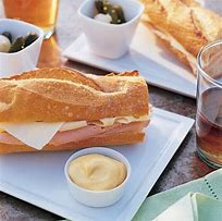 Ham and swiss baguette sandwich