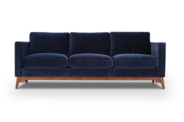 Cotton Navy Modern Scandinavian Sofa / Couch