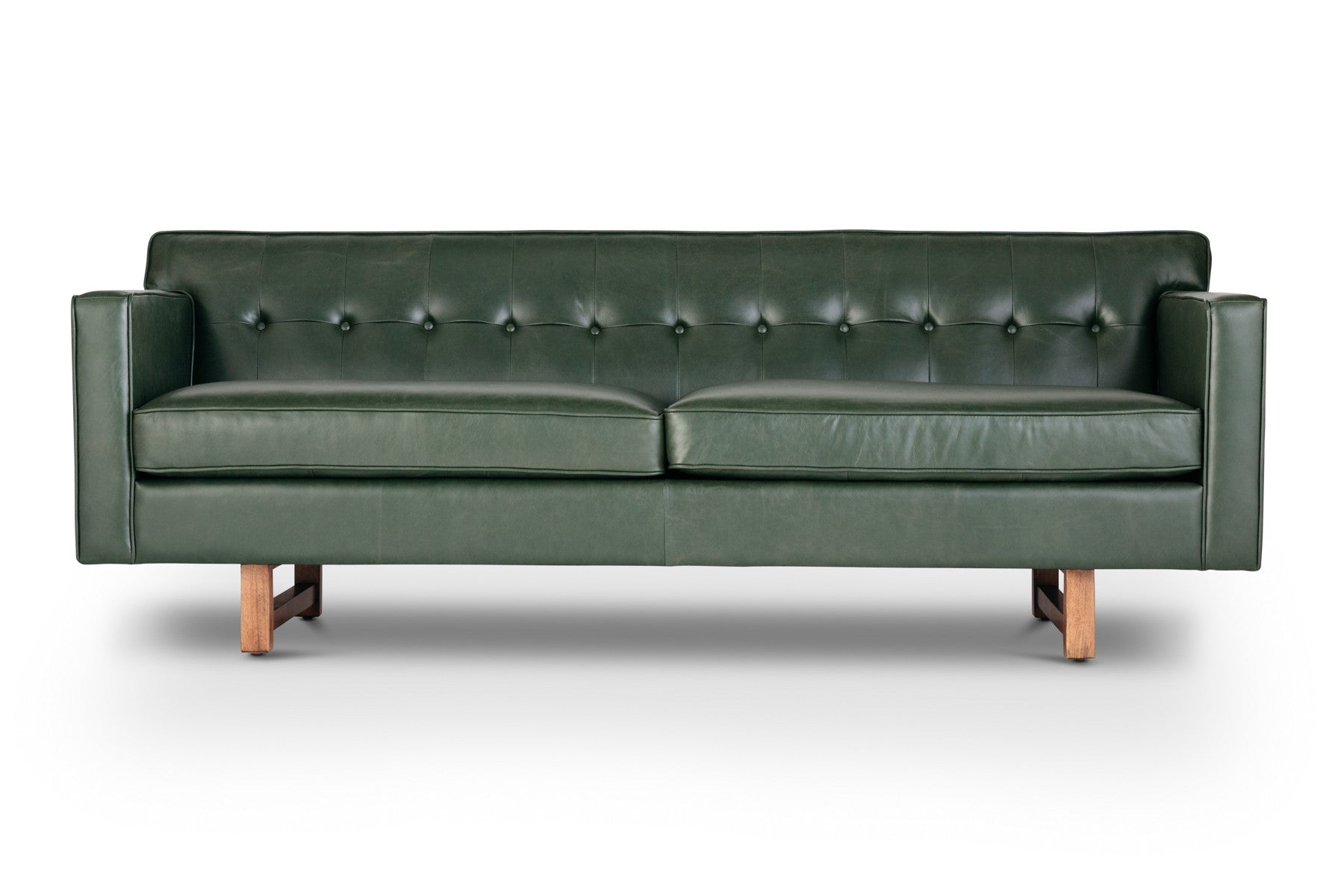 Gabriella Metro Moss Green Italian Leather Sofa Jovili