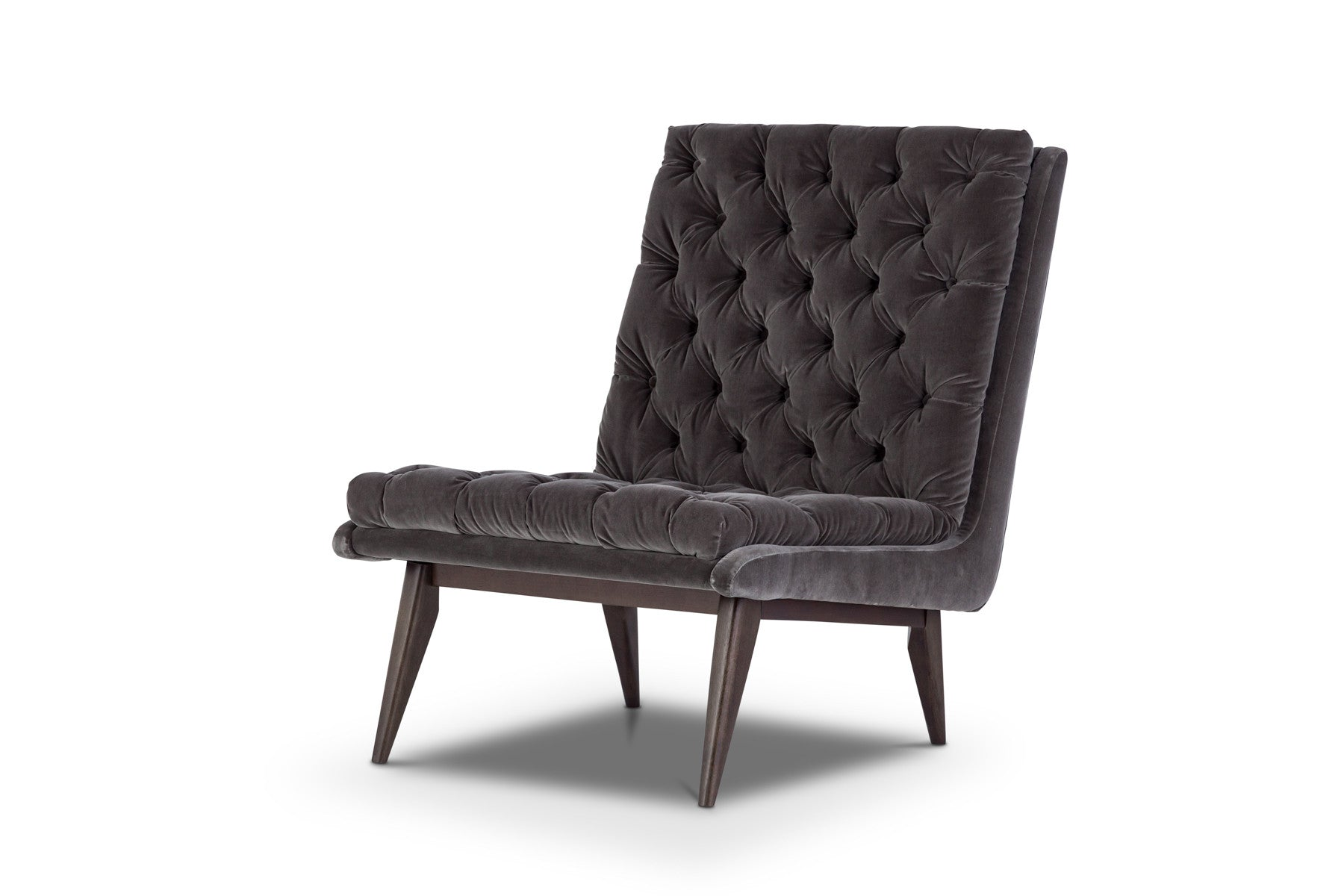 Modern velvet accent chair with ottoman