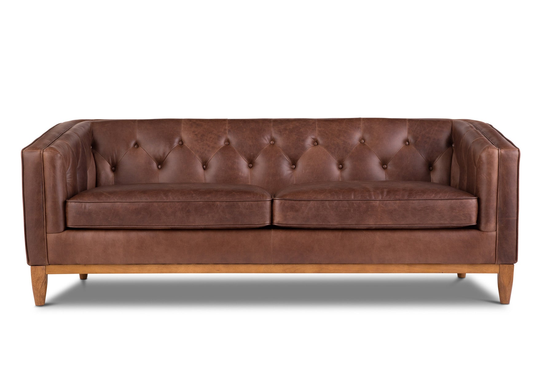 Natale Charm Mocha Contemporary Scandinavian Leather Sofa – jovili