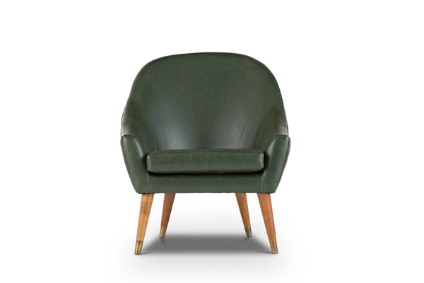Modern Classic Leather Lounge Chair (Moss Green)