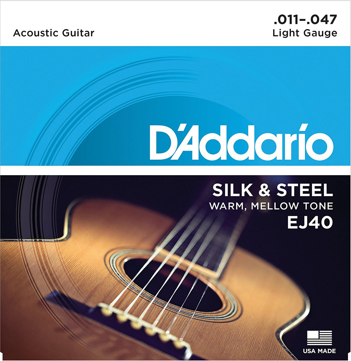 D'ADDARIO J40 Light Acoustic Guitar Strings, Silk & Steel