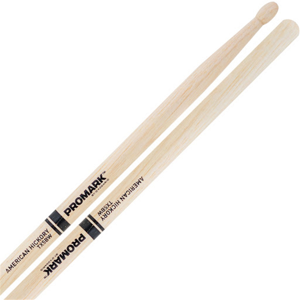 PRO MARK TX5BW 5B American Hickory Drumsticks, Wood Tip