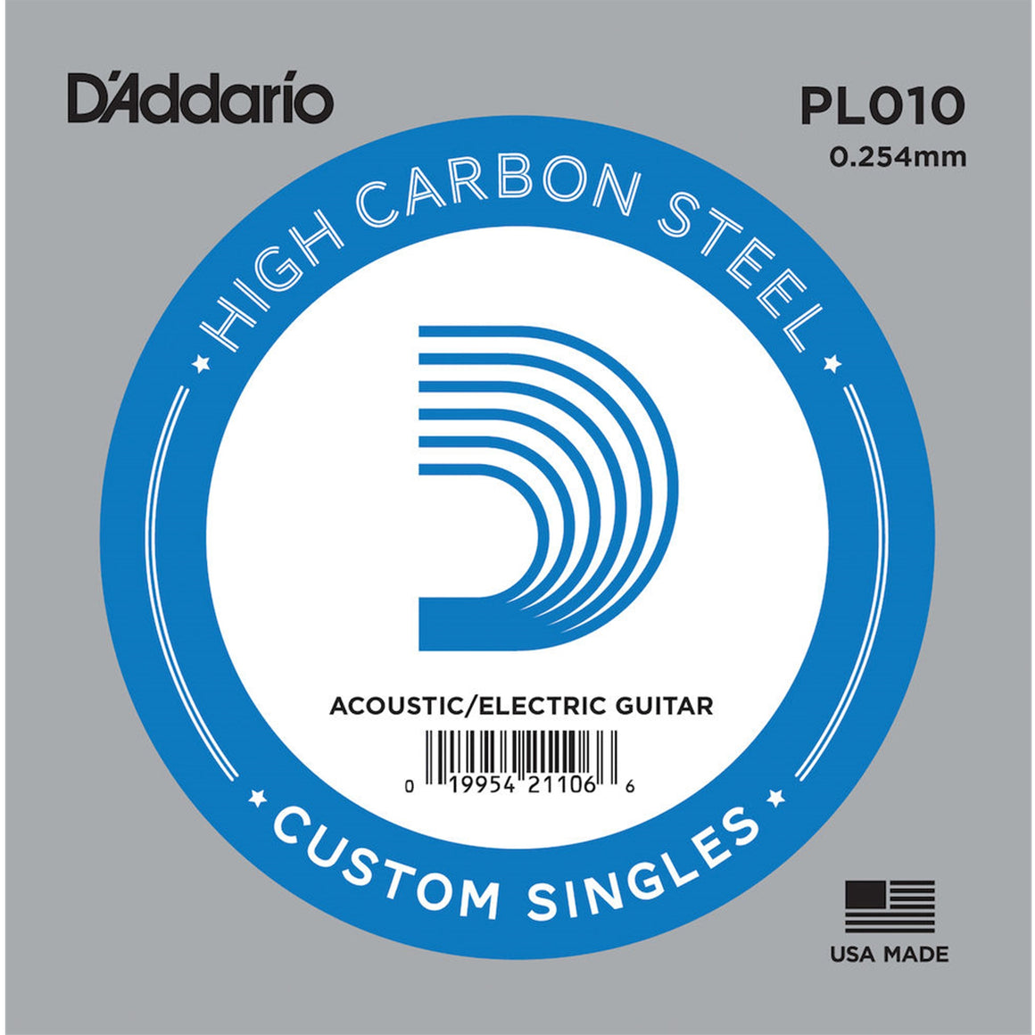 D'ADDARIO PL010 .010 Single Plain Steel String