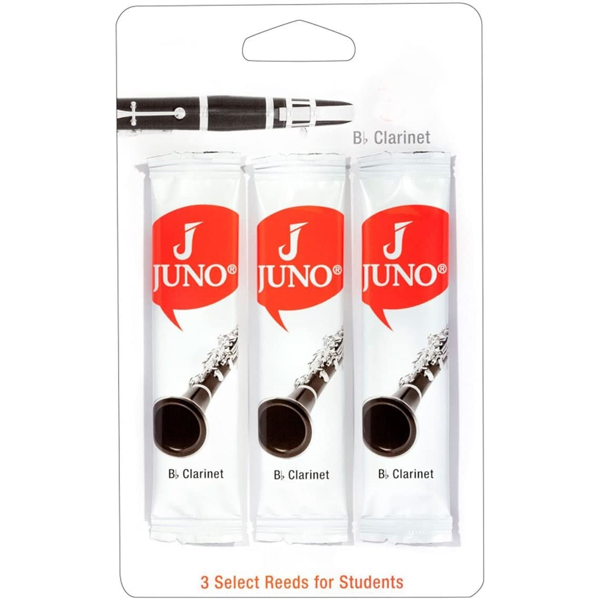 JUNO JCR01253 #2.5 Bb Clarinet Reeds, Card Of 3