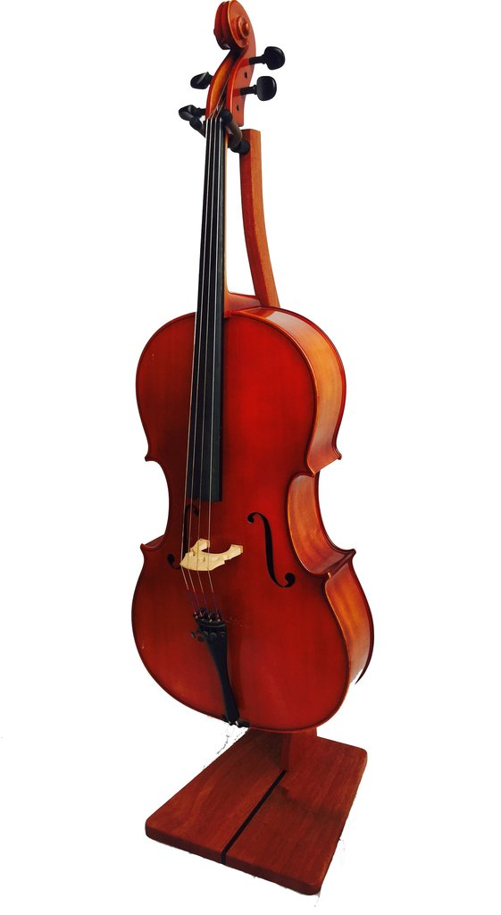 Zither Music C03 Wooden Cello Stand with Bow Holder - Handcrafted Solid Wood Floor Stand (Mahogany)