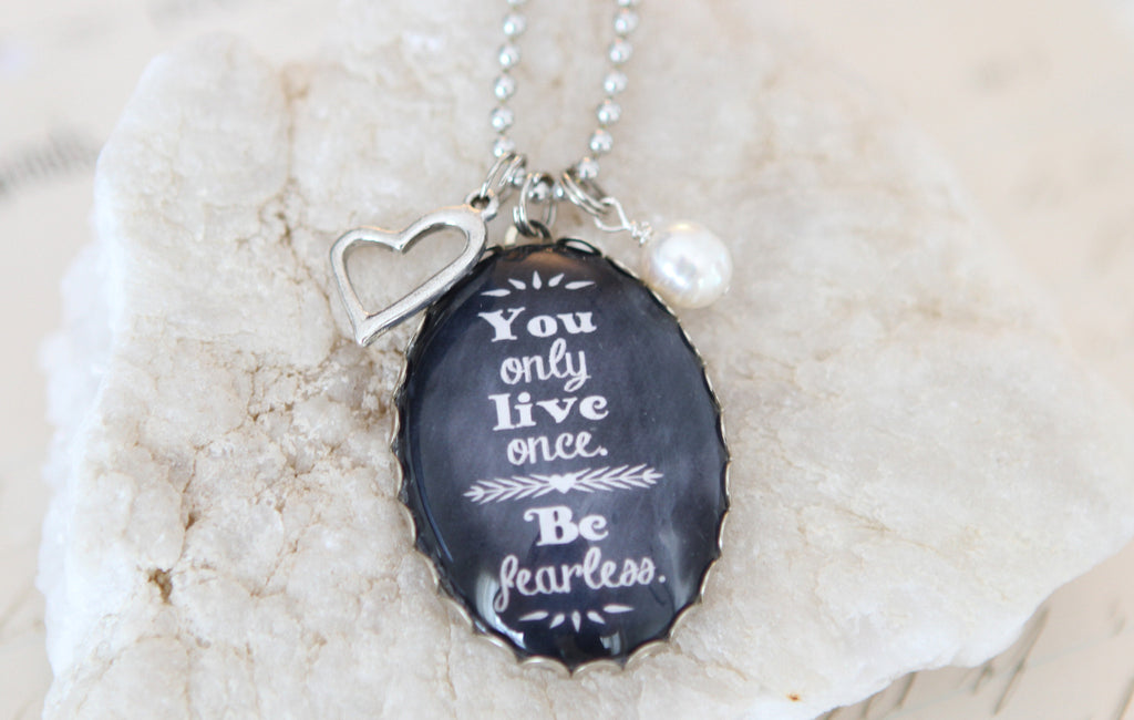 Be Fearless Oval Bubble Necklace