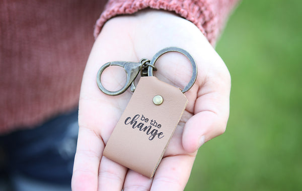 Be The Change Engraved Leather Keychain