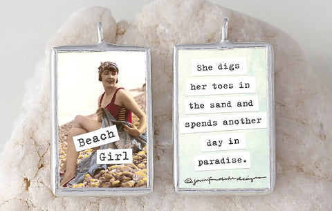 Beach Girl Soldered Art Charm