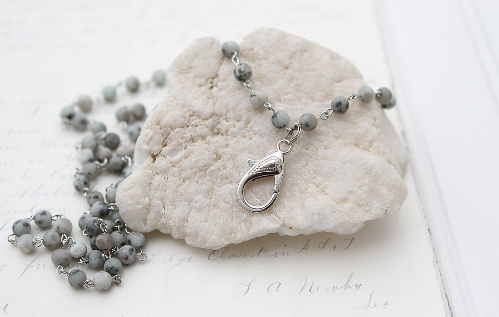 Aqua Jasper Lobster Clasp Charm Catcher