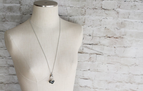 Tiny Black Initials Necklace - Jennifer Dahl Designs