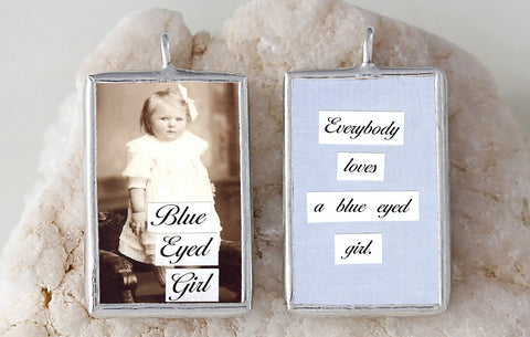 Blue Eyed Girl Soldered Art Charm