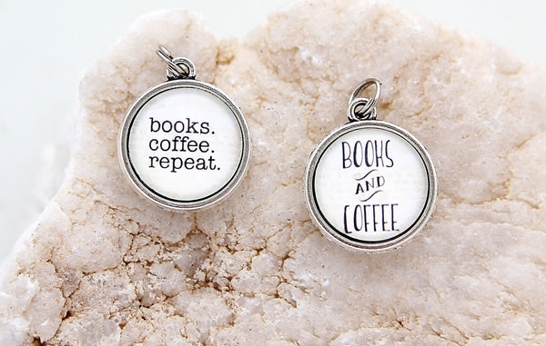 Books Coffee Repeat Double Bubble Charm