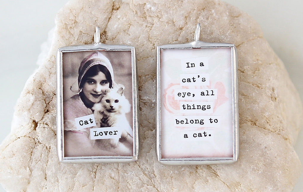 Cat Lover Soldered Art Charm