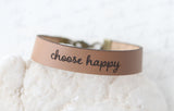 Choose Happy Leather Bracelet