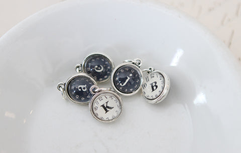 Tiny Clock Initial Bubble Charm